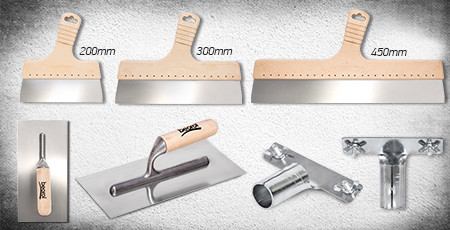 Stainless steel spatula, trowel and adapter