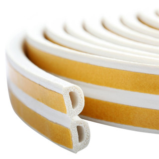 Seal strip D-profile, white 6m