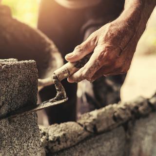 Bricklaying trowel rectangular steel
