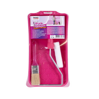 Pink Painting Set - tray, brush, mini roller