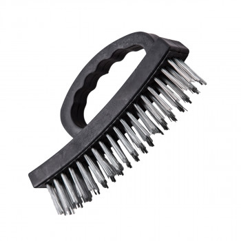 Steel brush, black PP handle