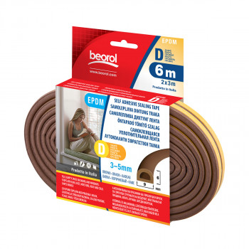 Seal strip D-profile, brown 6m
