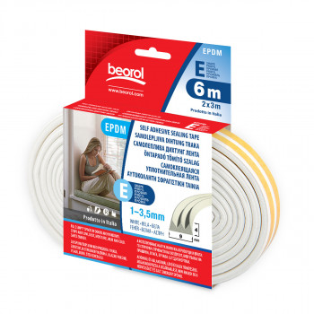 Seal strip E-profile, white 6m