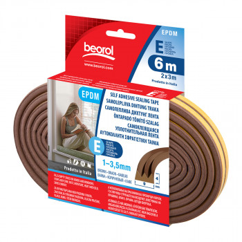 Seal strip E-profile, brown 6m