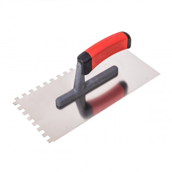Plastering trowel, stainless steel, rubber handle 8x8mm