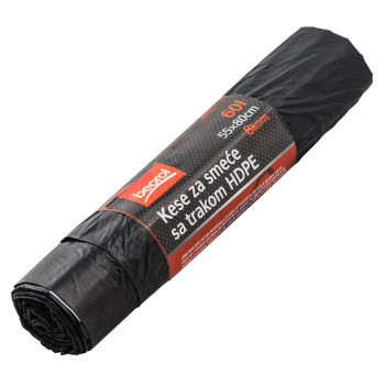 Garbage bags with tape, 60Lit, 8pcs
