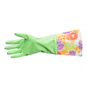 Household glove with long cuff, green
