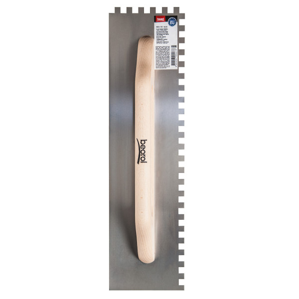 Plastering trowel, 480x130mm, wooden handle, stainless steel 10x10mm
