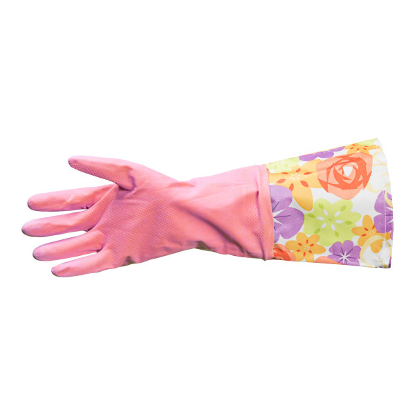 Household glove with long cuff, pink