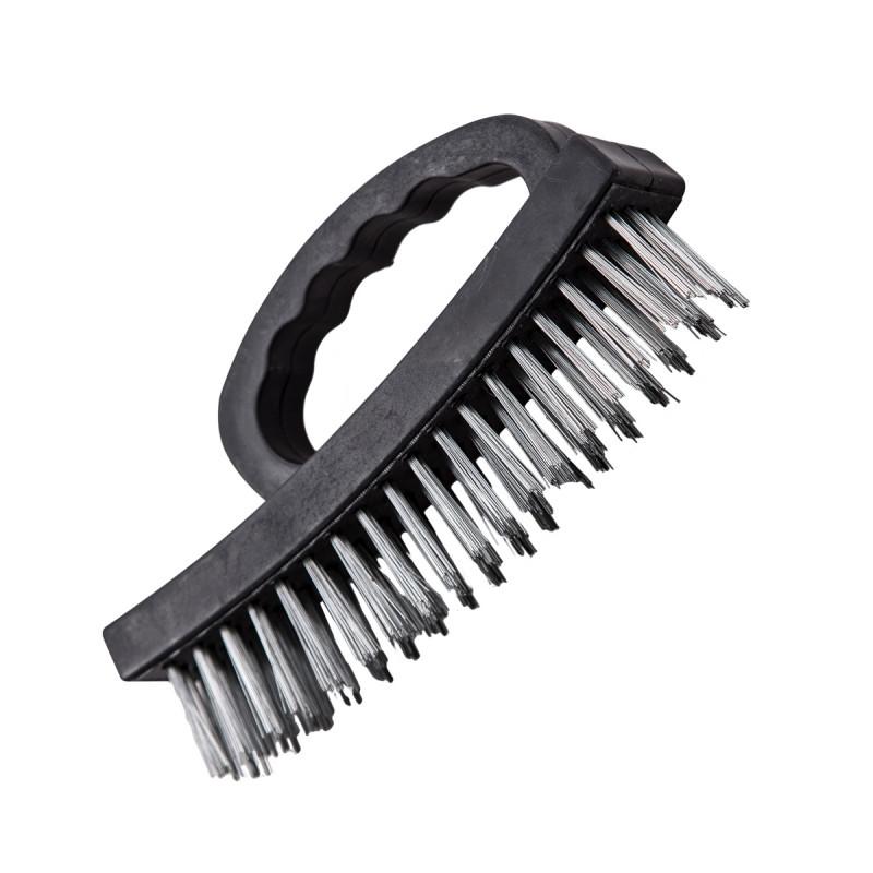 Steel brush, black PP handle