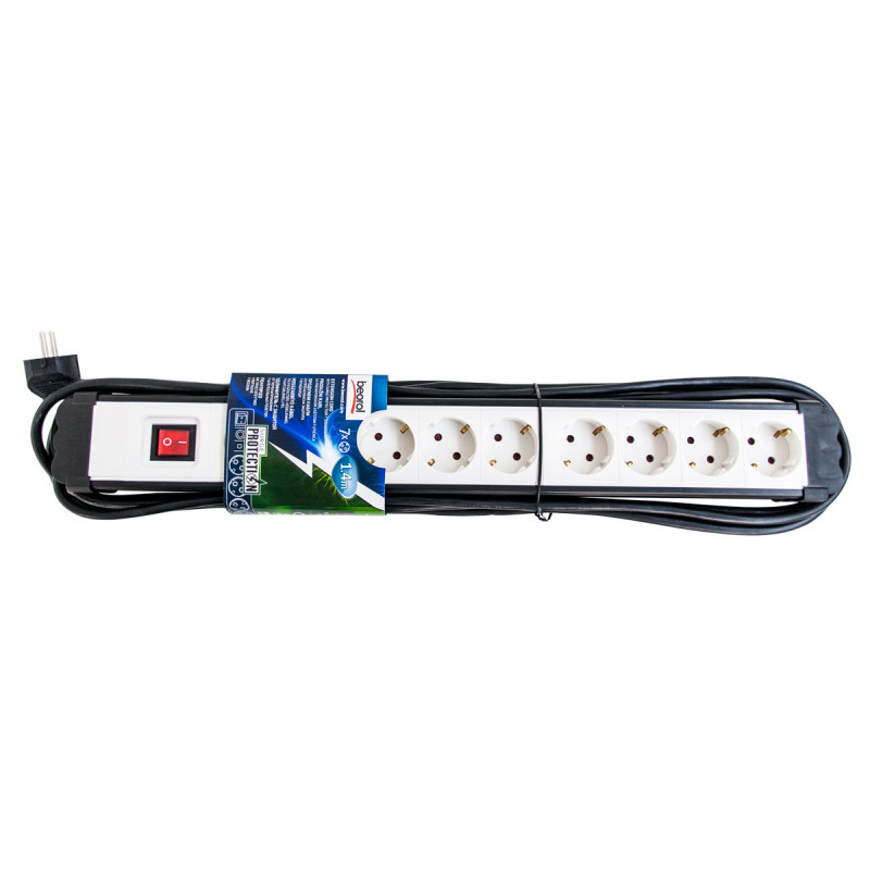 Extension cord with surge protection 7 sockets 1.4m