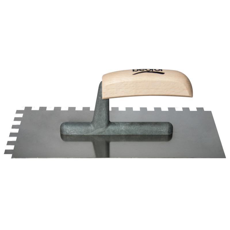 Plastering trowel, stainless steel, wooden handle 10x10mm