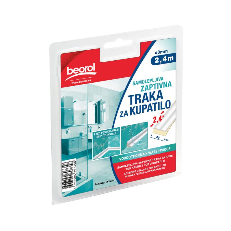 Adhesive seal for bathtubs shower& washbasins 40mm x 2.4m