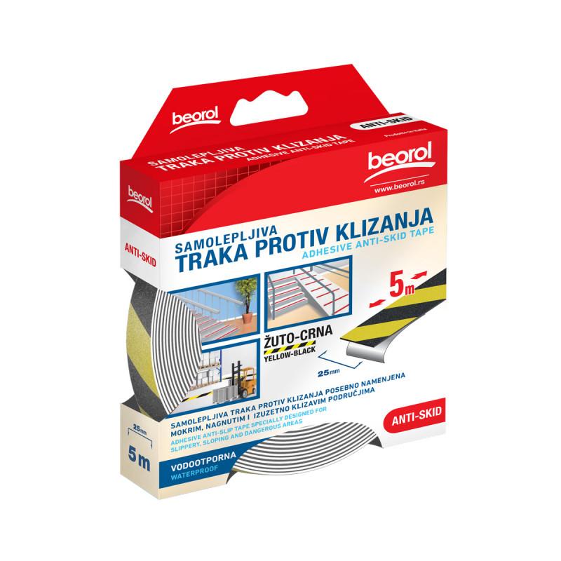 Adhesive Anti-Skid tape yelow/black, 25mm x 5m