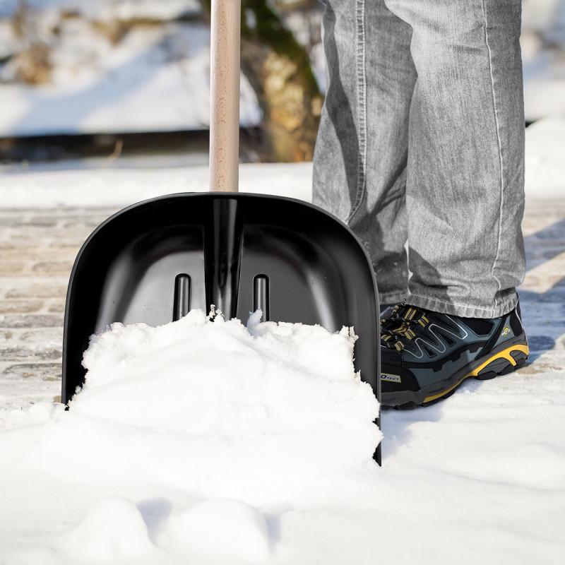 Plastic shovel 40x40cm black, reinforced plate