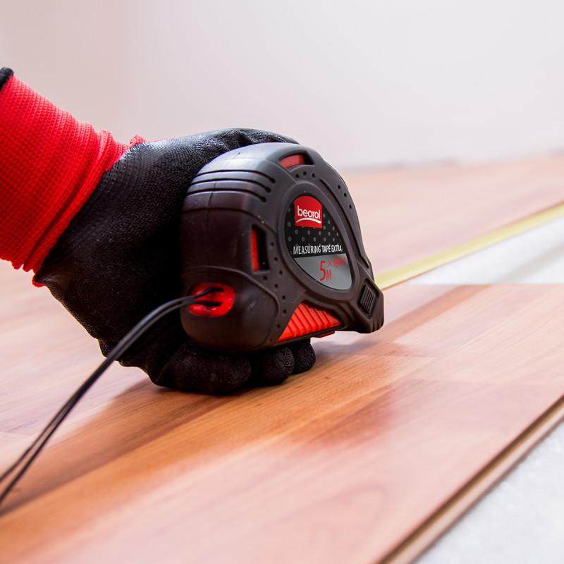 Steel measuring tape 16ft/5m,red body/black cover
