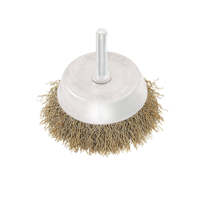Circular brass coated cup wire brush for drill, ø65mm