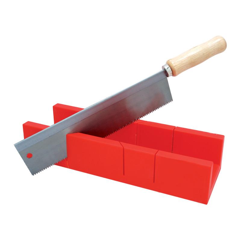 U-type mitre box with saw