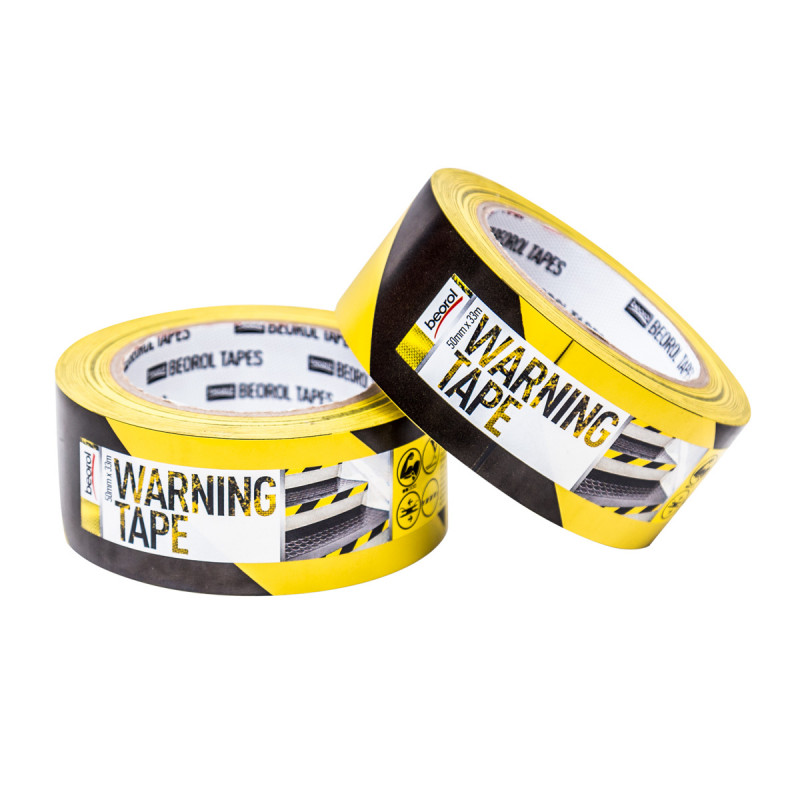Warning tape 50mm x 33m, yellow/black